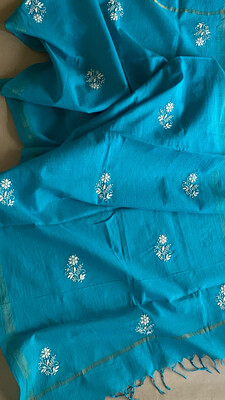 White Hand Embroidery On Blue Cotton Dupatta