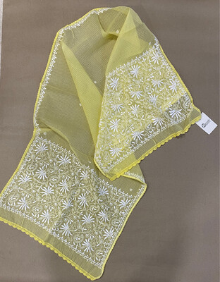 White Hand Embroidery On Yellow Kota Stole