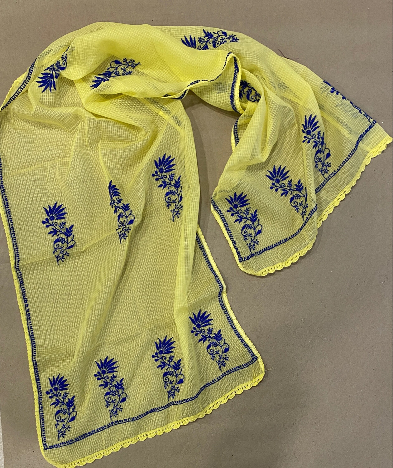 Blue Hand Embroidery On Yellow Kota Stole