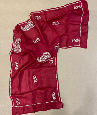 White Hand Embroidery On Red Silk Stole