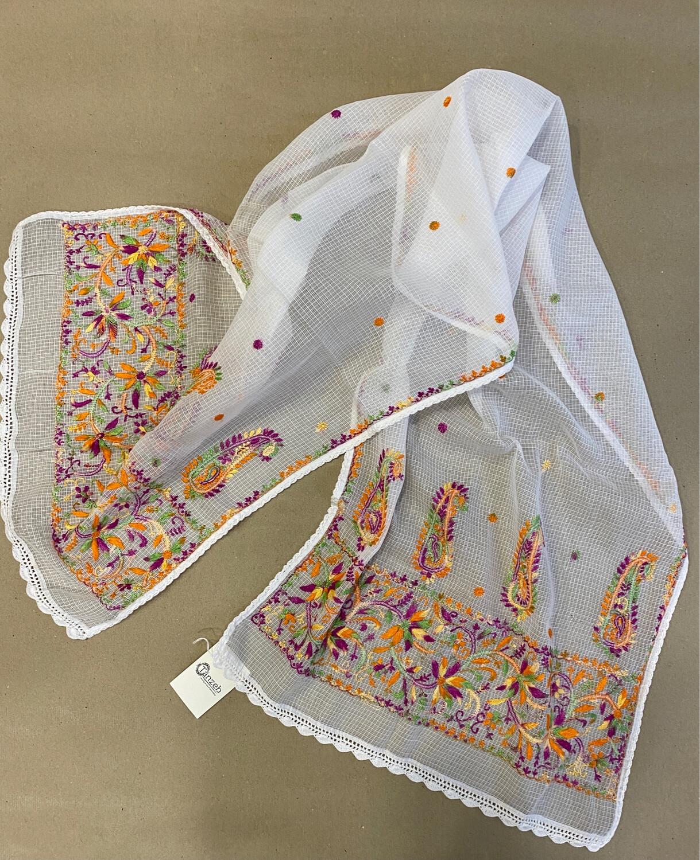 Hand Embroidered White Kota Stole