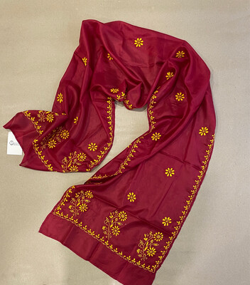 Yellow Hand Embroidery On Red Silk Stole