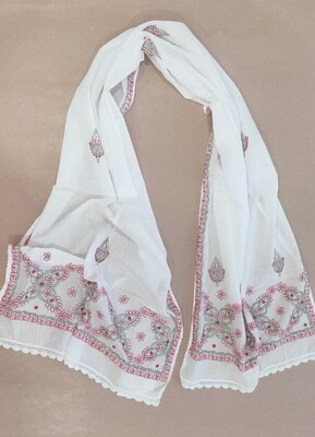 White mulmul with pink and green embroidery
