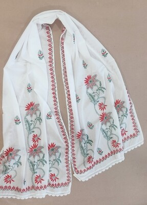 White mulmul with red and green embroidery