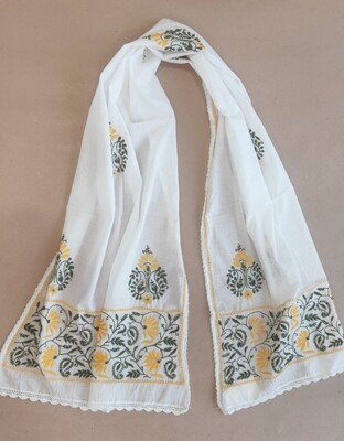 White stole with yellow and green embroidery