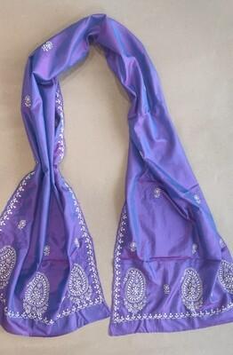 Silk purple stole with white work