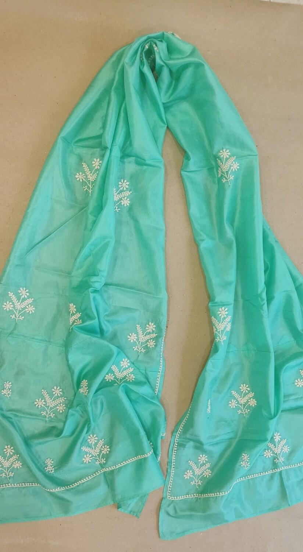 Sea Green Silk Stole with white work