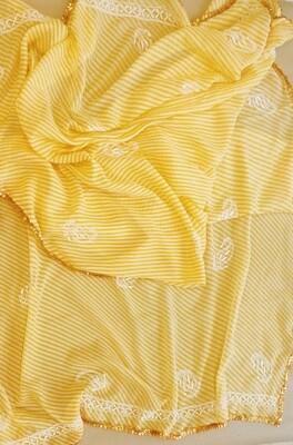 Yellow and White Lehriya Dupatta with Golden Gora