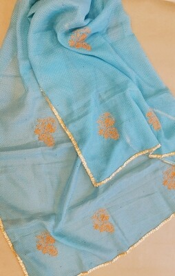 Blue White Lehriya Dupatta with orange embroidery