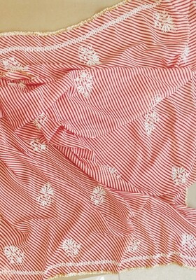 Red and white Lehriya Dupatta with white embroidery work and golden gora