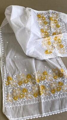 Kota white stole with mustard white flowers work