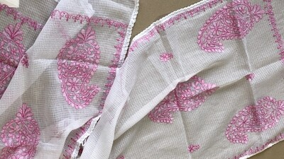 White Kota stole with pink shaded work