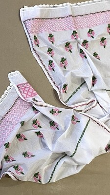 Cotton white stole with pink and green work
