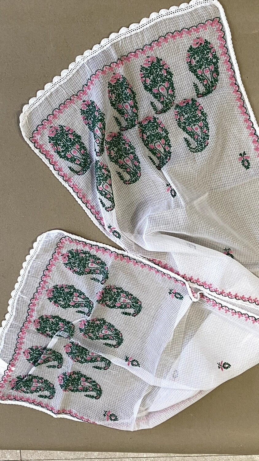 Kota white with pink and green keri stole