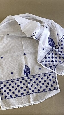 Kota white stole with indigo colour work