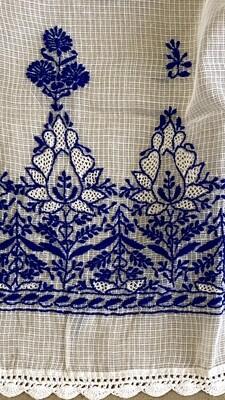 White Kota stole with blue work