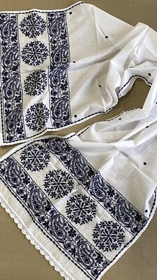 White cotton stole with navy blue work