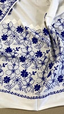 White cotton silk stole with blue work