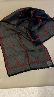 Black Kota stole with red work