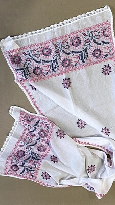 White cotton stole with pink and blue flowers
