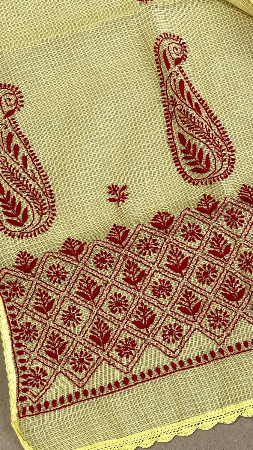Red hand embroidery on yellow kota stole
