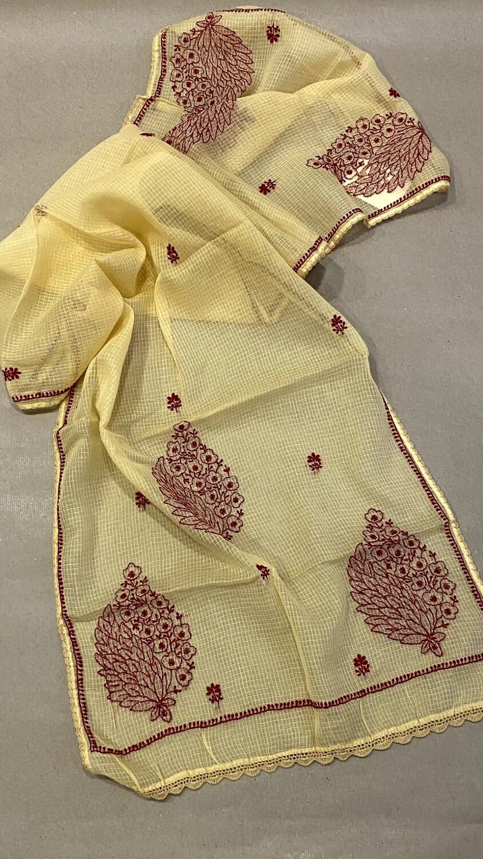 Maroon embroidery on beige kota stole