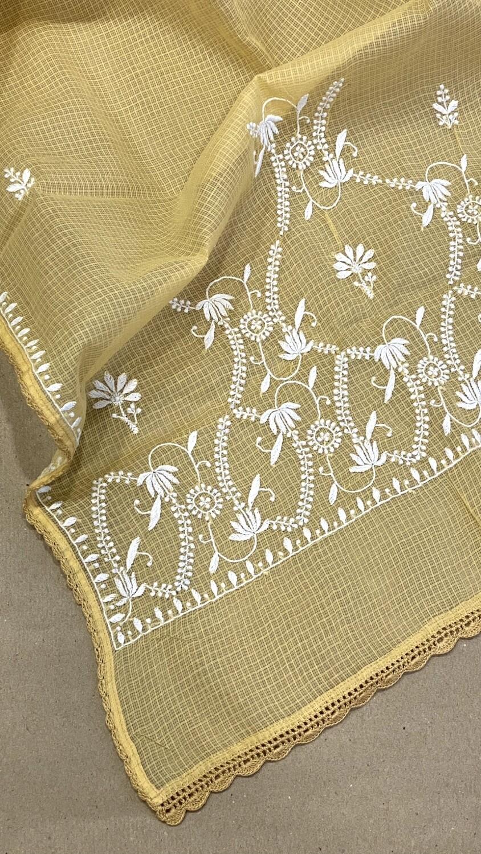 White embroidery on beige kota stole
