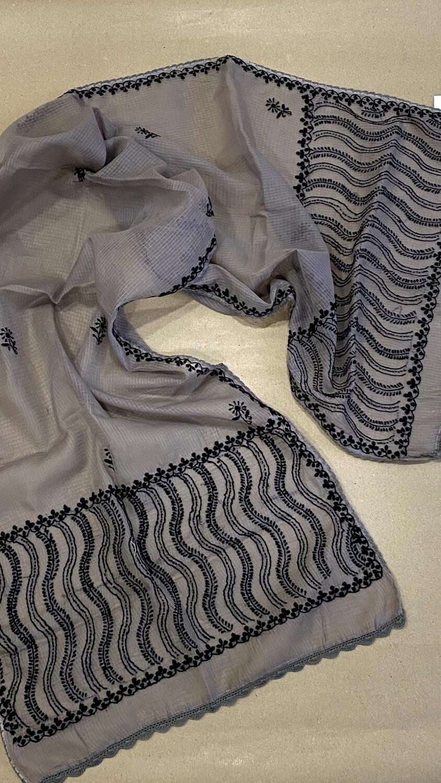 Black design embroidery on grey kota stole