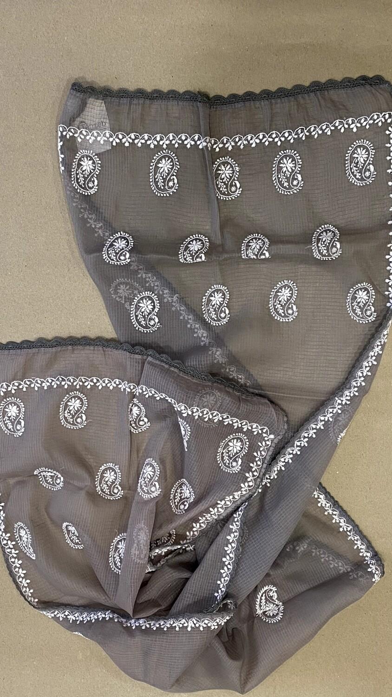White design embroidery on grey kota stole