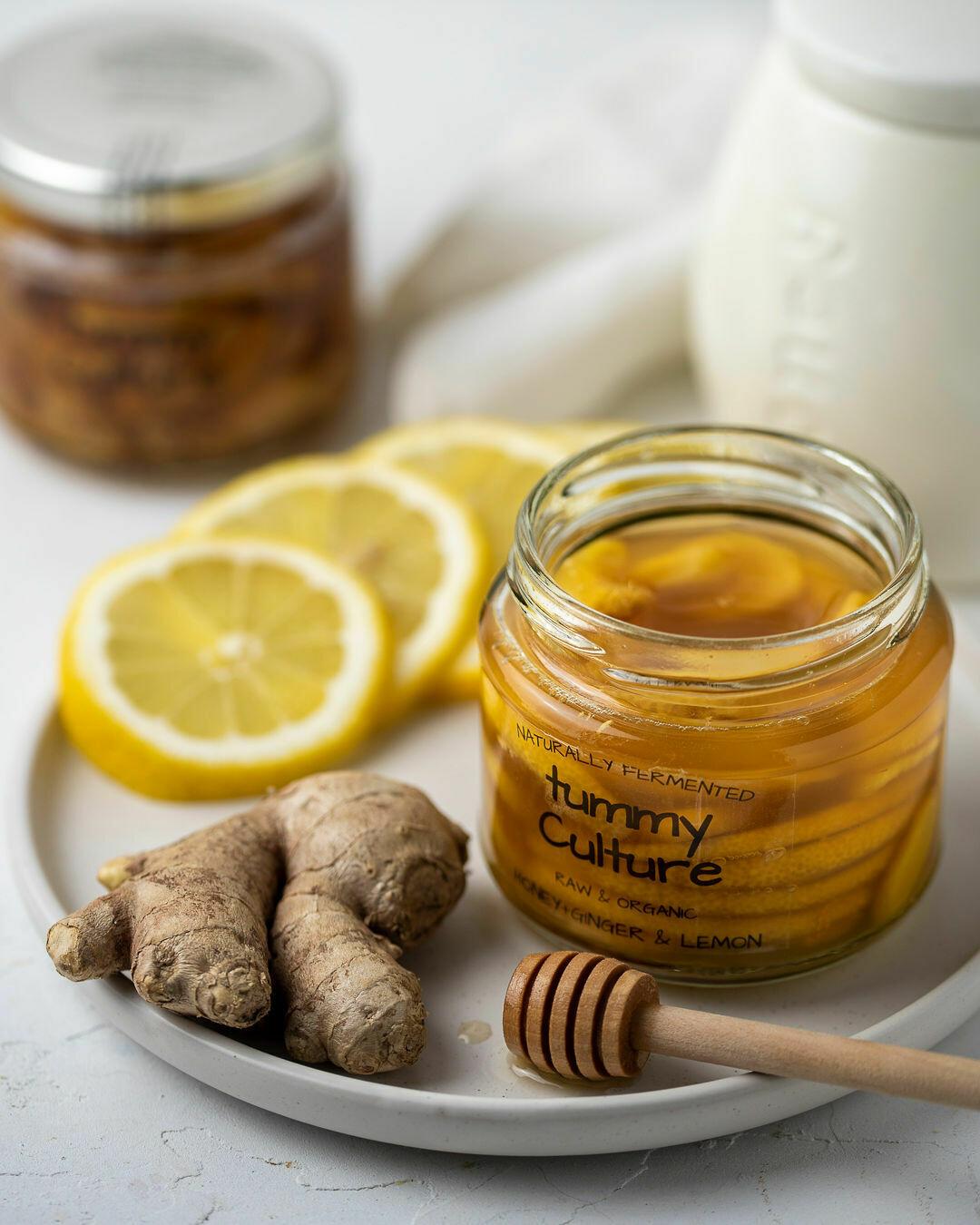 Raw Organic Honey With Soothing Organic Ginger & Lemon 200g