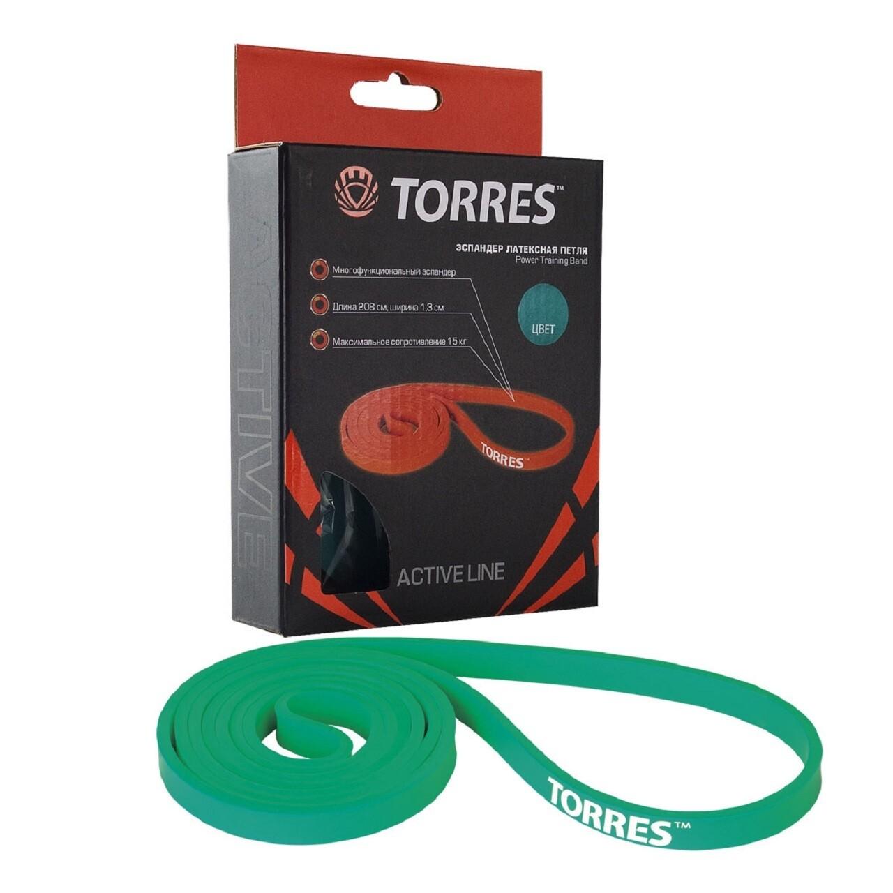 Латексная петля TORRES 15 кг, зеленый