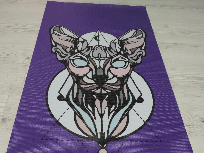 Коврик Кошка фиолетовый дисконт
