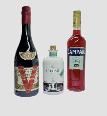 Negroni Set 1 Satoshi Geist Toskana Wacholder 500ml 48% 1 Vermouth Giuseppe Giusti 0,75l 1 Campari 0,7l 25%
