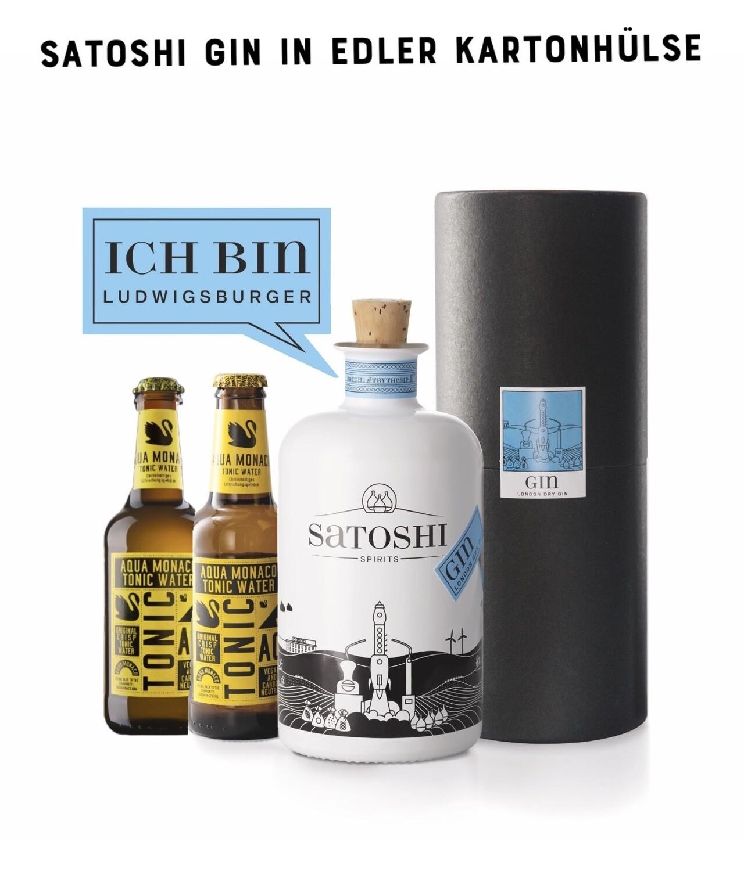 Satoshi London Dry Gin in der Geschenkbox set 2x Tonic Water von Aqua Monaco 500ml | 44 %VOL