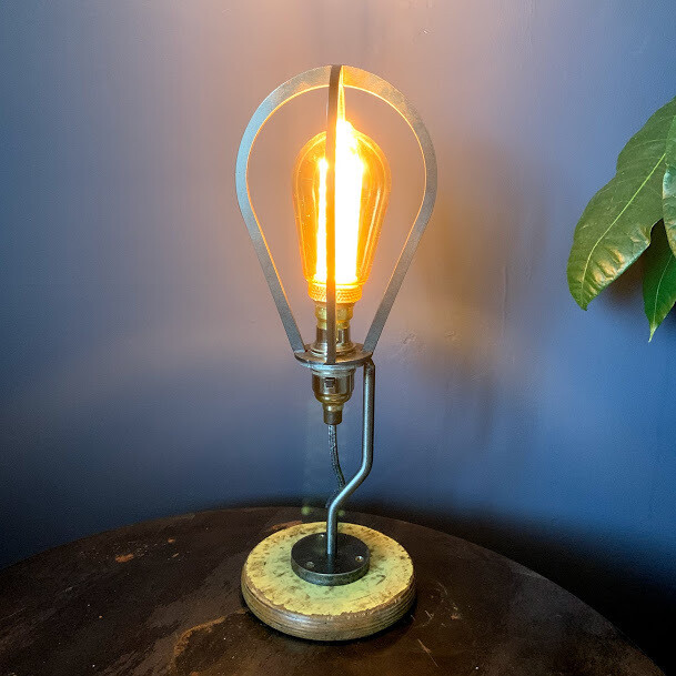 Cage Lamp with Yellow Spool Base