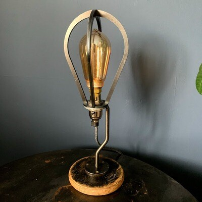 Cage lamp with vintage cotton reel base