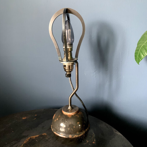 cage lamp with salvaged enamel base