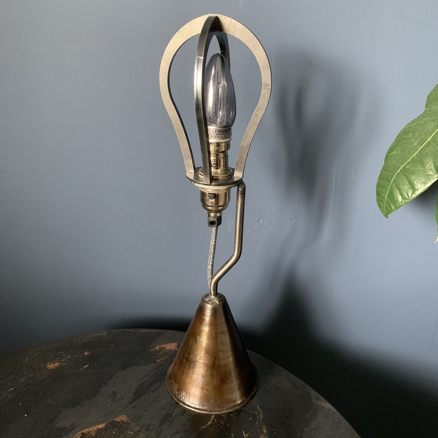 Industrial Cage Lamp With Vintage Cone Base