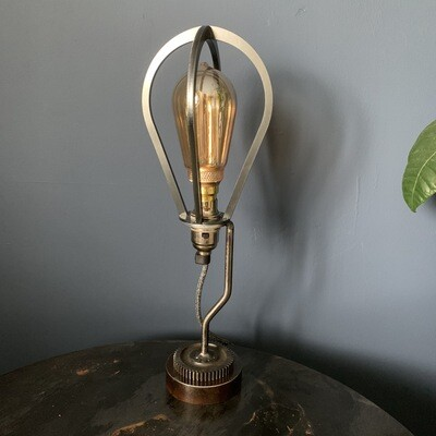 Vintage Industrial Style Cage Lamp With Cog Base