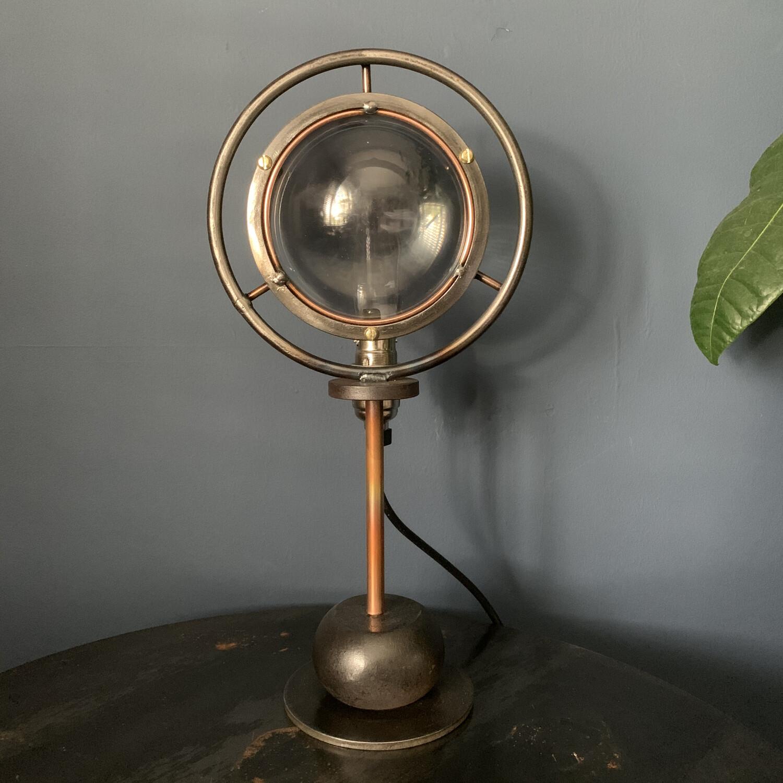 Vintage Theatre Lamp Lens On Bespoke Base