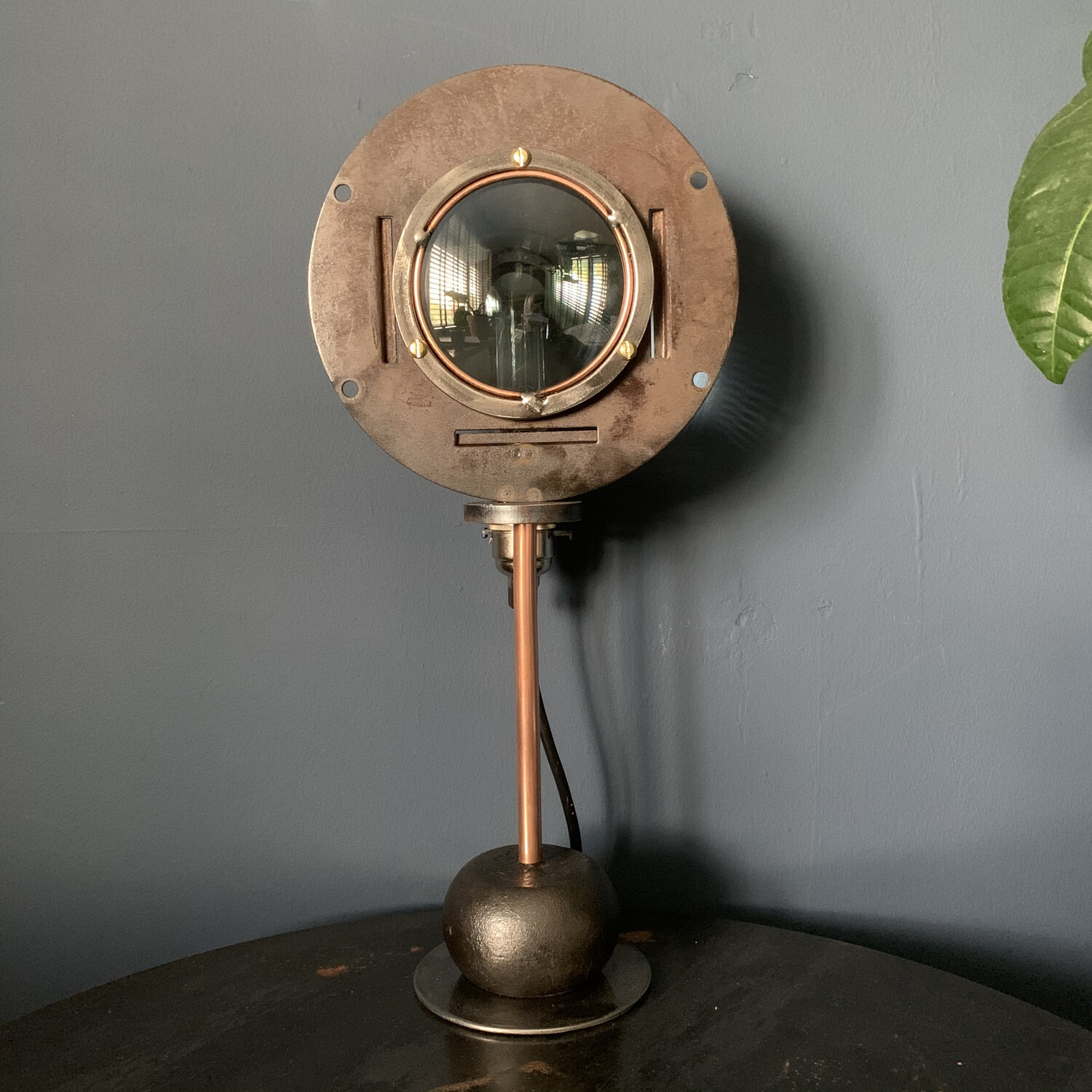 Vintage Lens Set In A Bespoke Steel And Copper Lamp Stand