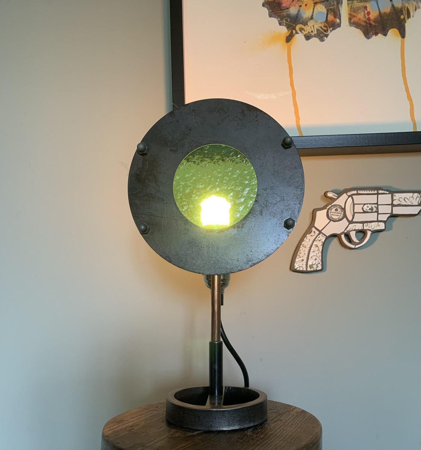 Green Stained Glass Disc Lamp 2