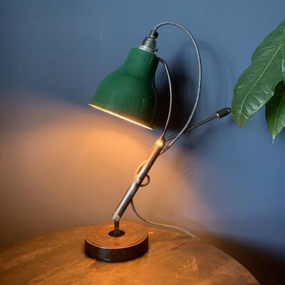 Industrial Green Enamel Shade Desk / Table Lamp