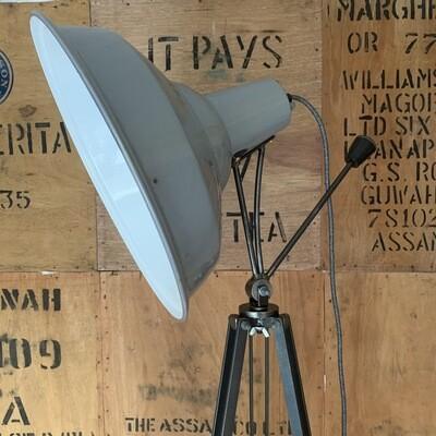 Vintage Grey Enamel Shade Pan/tilt Lamp