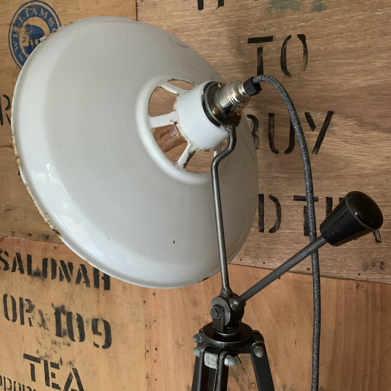 Vintage Industrial White Enamel Shade On Bespoke Stand