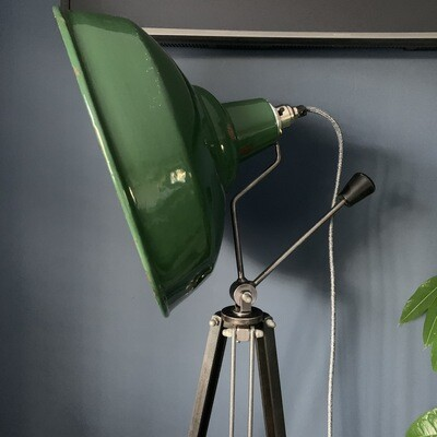 Vintage Green Enamel Industrial Shade Tripod Lamp
