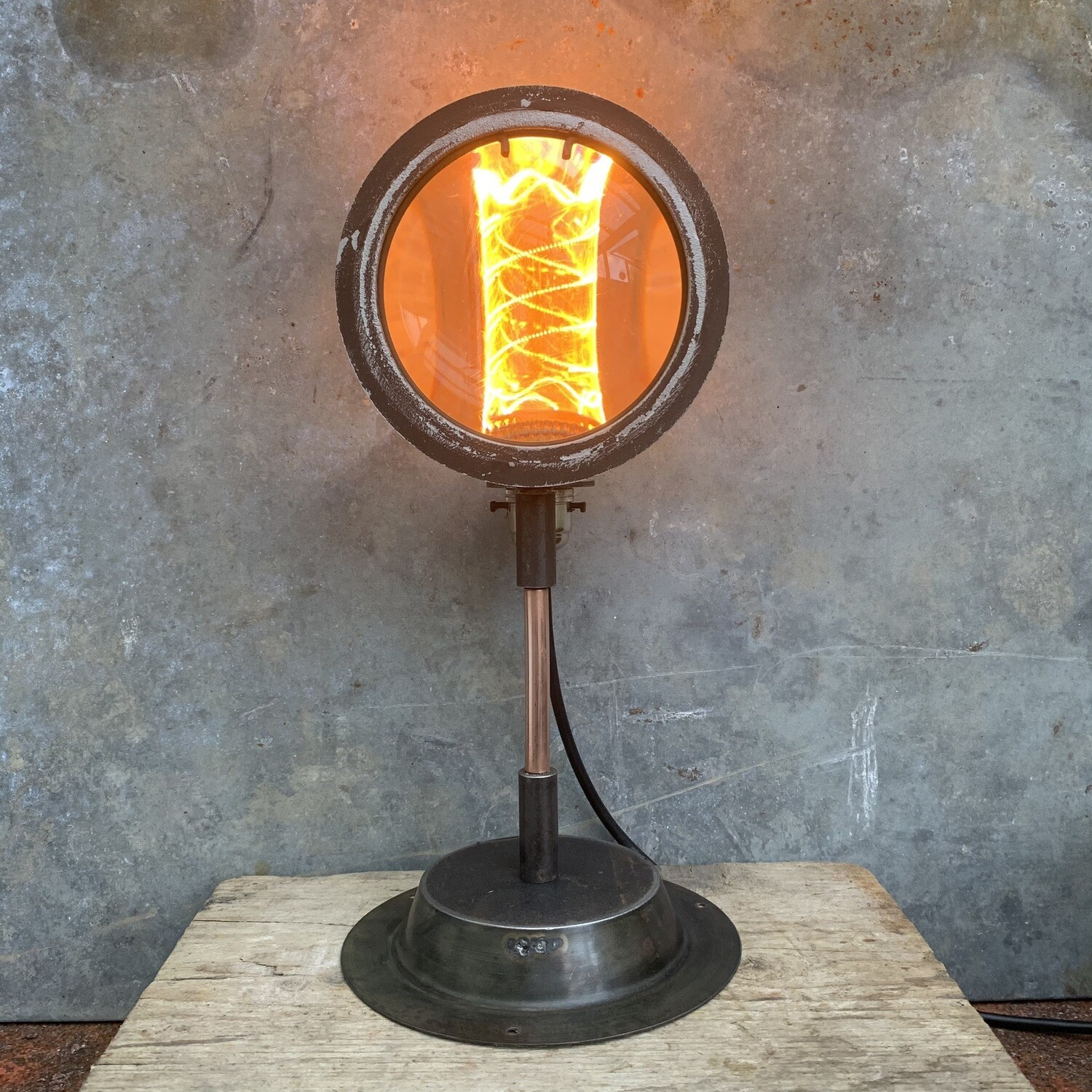 Vintage Theatre Lamp Lens On Bespoke Stand