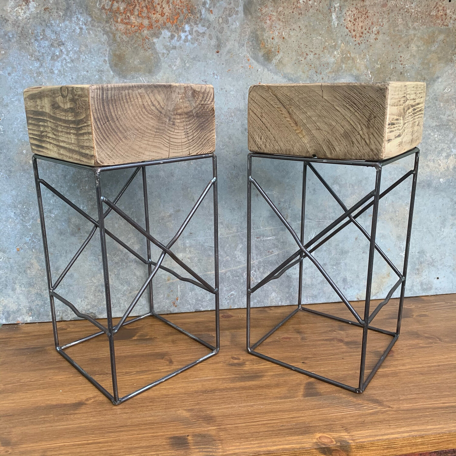 Wooden Block Side Tables