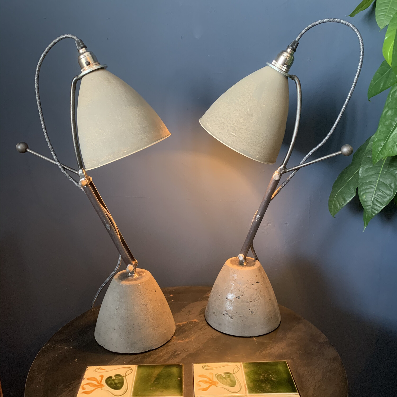 Concrete And Steel Industrial Desk Lamp