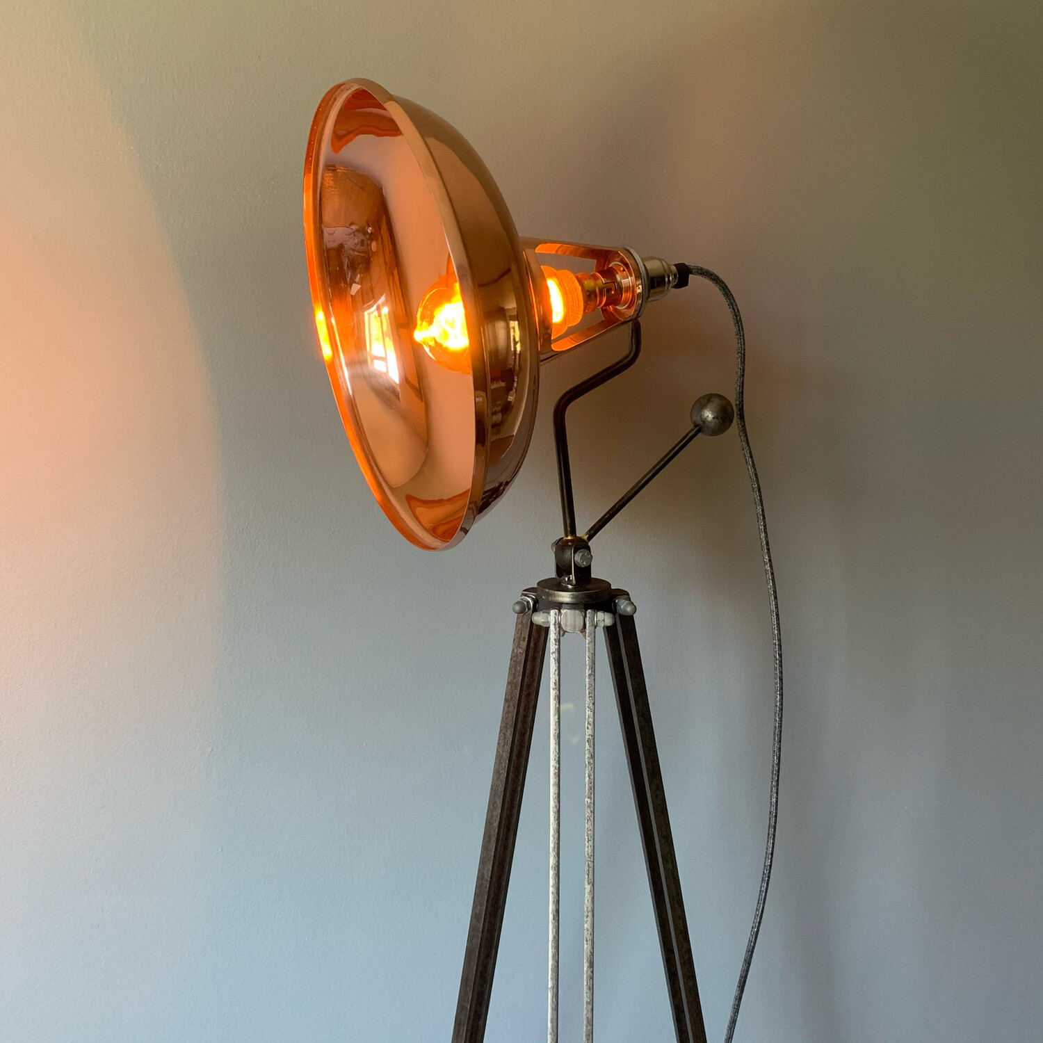 Copper Coolicon Style Shade On Steel Tripod